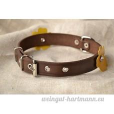 Collier chien en cuir marron avec fleurs fait main accessoire pour animal - B0791JHNHJ