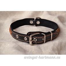 Collier pour chien noir etroit en cuir fait main - B0791G59KG