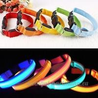 LED lumineux pour chien clignotant collier de sécurité réglable LED collier pour chat en nylon par Lizzy® - B00ON1NM5M