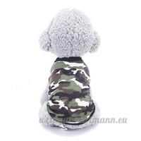 Minkoll animal domestique Chien Vêtements  mince Coton Gilet de chiot Costumes T-shirt imprimé (XS  Vert coloré) - B07DHFJ2R4