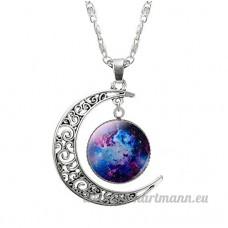 Kanggest Collier Bijoux Croissant de lune planète Galaxie Espace Univers chaîne en argent cabochon en verre Collier cadeaux - B07C7V5JQV