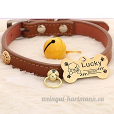 Peau de vache chien collier chien Golden Retriever Teddy chien Pomeranian Laser lettrage Collier de chat Accroche tag Bell   008   xs - B07BQTL28Q