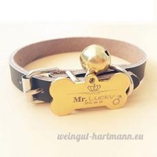 Chien carte d'identité carte personnalisée Golden Retriever Teddy chien collier pour animaux lettrage Laser personnalisation de marque chat Collier cloche   009   XL - B07BQS88TN