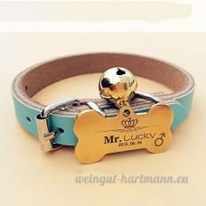 Chien carte d'identité carte personnalisée Golden Retriever Teddy chien collier pour animaux lettrage Laser personnalisation de marque chat Collier cloche   006   M - B07BQRZB2M