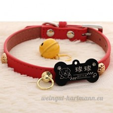 Peau de vache chien collier chien Golden Retriever Teddy chien Pomeranian Laser lettrage Collier de chat Accroche tag Bell   009   L - B07BQQXJL8