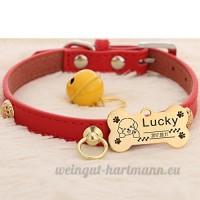 Peau de vache chien collier chien Golden Retriever Teddy chien Pomeranian Laser lettrage Collier de chat Accroche tag Bell   006   xs - B07BQPZ899