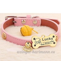 Peau de vache chien collier chien Golden Retriever Teddy chien Pomeranian Laser lettrage Collier de chat Accroche tag Bell   007   xs - B07BQKXS5H