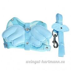 Nalmatoionme Aile d'angle réglable Harnais laisse Sangle en nylon Bleu (Taille: S) - B071RL7QPB