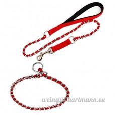 Pet Supplies gros chien mordre empêchant la corde de traction pour tirer le collier en fer chromé à tricoter chaîne collier tour de cou laisse rouge/bleu/noir  red - B07B95DFYH