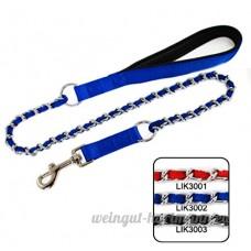 SMACO-laisse Pet Supplies mordre empêchant la chaîne de traction de câble de traction avec laisse collier de cordon de serrage à tricoter chromage rouge/bleu/noir  blue - B07B94DPVR