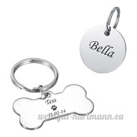 HOUSWEETY Medaille d'Identification en Acier Inoxydable Convient aux Animaux Inscription Personnalisee Medaille Rond+Os - B074M6D2BK