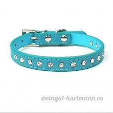 SMACO-laisse fournitures pour animaux sangle cou cuir animal collier de chien collier col animal collier rose/rouge/bleu/noir  blue - B07B926JS2