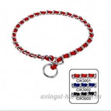 SMACO-laisse chaîne chaîne de commande de cou chaîne de collier mordant empêchant chrome de tricotage P P accessoires pour animaux de collier rouge/bleu/noir  red - B07B9441XR