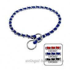SMACO-laisse chaîne chaîne de commande de cou chaîne de collier mordant empêchant chrome de tricotage P P accessoires pour animaux de collier rouge/bleu/noir  blue - B07B943P6N