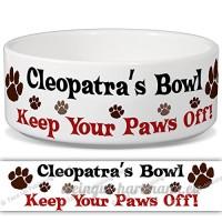 Cléopâtre de bol–Garder Votre Paws Off. Nom personnalisable en céramique pour gamelle–2tailles disponibles - B015G6F9KI
