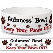 Guinness de bol–Garder Votre Paws Off. Nom personnalisable en céramique pour gamelle–2tailles disponibles - B015G6EG2K