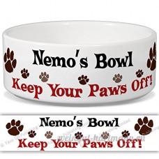 Nemo de bol–Garder Votre Paws Off. Nom personnalisable en céramique pour gamelle–2tailles disponibles - B015G6DZG8
