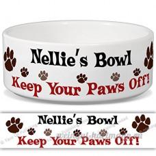 Nellie de bol–Garder Votre Paws Off. Nom personnalisable en céramique pour gamelle–2tailles disponibles - B015G6DXDI