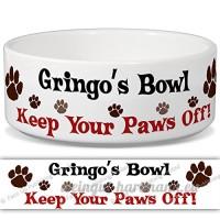GRINGO de bol–Garder Votre Paws Off. Nom personnalisable en céramique pour gamelle–2tailles disponibles - B015G6DV62