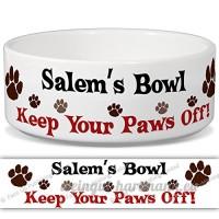 Salem de bol–Garder Votre Paws Off. Nom personnalisable en céramique pour gamelle–2tailles disponibles - B015G6DCTS
