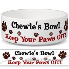 Chewie de bol–Garder Votre Paws Off. Nom personnalisable en céramique pour gamelle–2tailles disponibles - B015G6CZ6E