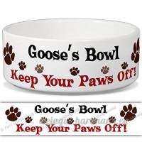Oie de bol–Garder Votre Paws Off. Nom personnalisable en céramique pour gamelle–2tailles disponibles - B015G6CR7G