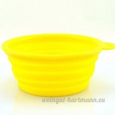 Primi Portable pour animal domestique Nourriture/Eau pliable Bol pour voyage (Jaune) - B075TVZ1J5
