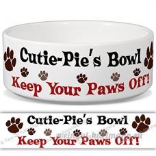 cutie-pie de bol–Garder Votre Paws Off. Nom personnalisable en céramique pour gamelle–2tailles disponibles - B015G6HVRC