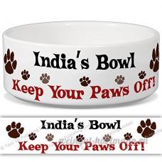 Inde de bol–Garder Votre Paws Off. Nom personnalisable en céramique pour gamelle–2tailles disponibles - B015G6HUYG