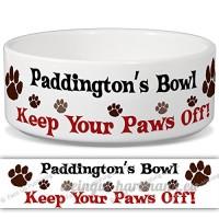 Paddington de bol–Garder Votre Paws Off. Nom personnalisable en céramique pour gamelle–2tailles disponibles - B015G6HTC4
