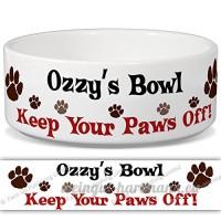 Ozzy de bol–Garder Votre Paws Off. Nom personnalisable en céramique pour gamelle–2tailles disponibles - B015G6HN6G