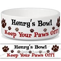 Henry de bol–Garder Votre Paws Off. Nom personnalisable en céramique pour gamelle–2tailles disponibles - B015G6GJC0