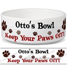 Otto de bol–Garder Votre Paws Off. Nom personnalisable en céramique pour gamelle–2tailles disponibles - B015G6HGN6