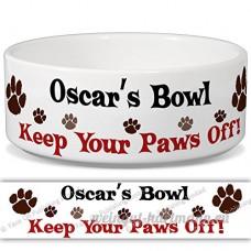 Oscar de bol–Garder Votre Paws Off. Nom personnalisable en céramique pour gamelle–2tailles disponibles - B015G6HCTE