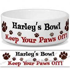 HARLEY de bol–Garder Votre Paws Off. Nom personnalisable en céramique pour gamelle–2tailles disponibles - B015G6FUGG