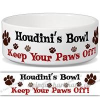 Houdini de bol–Garder Votre Paws Off. Nom personnalisable en céramique pour gamelle–2tailles disponibles - B015G6HALO