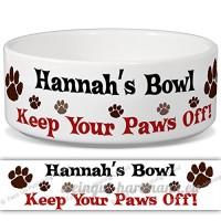 Hannah de bol–Garder Votre Paws Off. Nom personnalisable en céramique pour gamelle–2tailles disponibles - B015G6FGQU