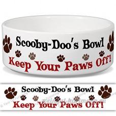 Scooby-Doo de bol–Garder Votre Paws Off. Nom personnalisable en céramique pour gamelle–2tailles disponibles - B015G6F836