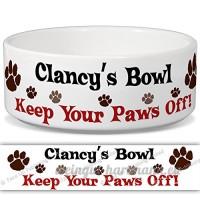 clancy'S Bol–Garder Votre Paws Off. Nom personnalisable en céramique pour gamelle–2tailles disponibles - B015G6F4N0