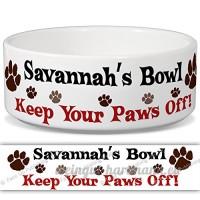 Savannah de bol–Garder Votre Paws Off. Nom personnalisable en céramique pour gamelle–2tailles disponibles - B015G6EN2I