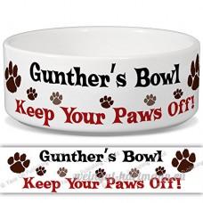 Günther de bol–Garder Votre Paws Off. Nom personnalisable en céramique pour gamelle–2tailles disponibles - B015G6EKN0