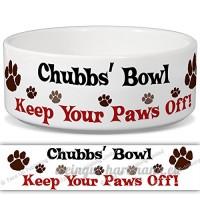 Chubbs de bol–Garder Votre Paws Off. Nom personnalisable en céramique pour gamelle–2tailles disponibles - B015G6EGQ6