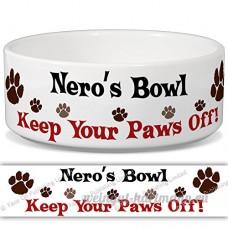 Nero de bol–Garder Votre Paws Off. Nom personnalisable en céramique pour gamelle–2tailles disponibles - B015G6E7NI