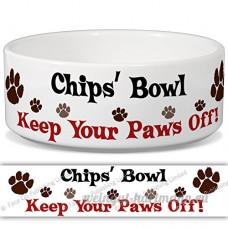 Chips de bol–Garder Votre Paws Off. Nom personnalisable en céramique pour gamelle–2tailles disponibles - B015G6DYU0