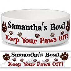 Samantha de bol–Garder Votre Paws Off. Nom personnalisable en céramique pour gamelle–2tailles disponibles - B015G6DPGS