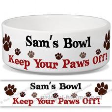Sam de bol–Garder Votre Paws Off. Nom personnalisable en céramique pour gamelle–2tailles disponibles - B015G6DLNA