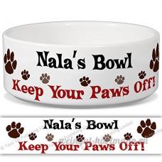 Nala de bol–Garder Votre Paws Off. Nom personnalisable en céramique pour gamelle–2tailles disponibles - B015G6DHH0