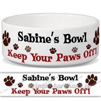 Sabine de bol–Garder Votre Paws Off. Nom personnalisable en céramique pour gamelle–2tailles disponibles - B015G6CU6Y