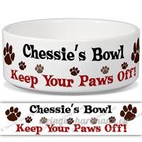 chessie de bol–Garder Votre Paws Off. Nom personnalisable en céramique pour gamelle–2tailles disponibles - B015G6CR0S
