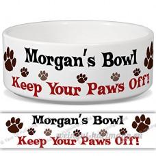 Morgan de bol–Garder Votre Paws Off. Nom personnalisable en céramique pour gamelle–2tailles disponibles - B015G6CH7G
